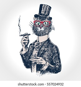 Cat gentleman holding glass of beverage and cigar. Hand drawn vector illustration in vintage engraved style. Cat hipster, furry art illustration, fashion animal