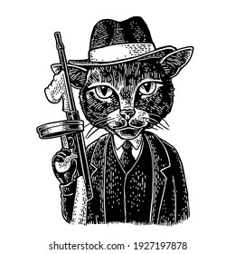 Cat gentleman holding a weapon and dressed in a hat, suit, waistcoat. Vintage black engraving illustration. Isolated on white background. Hand drawn design element for label and poster