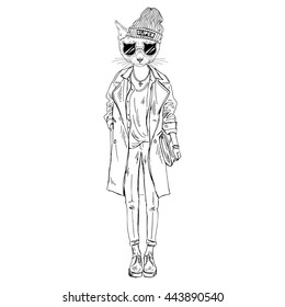 cat girl dressed up in casual urban style, furry art illustration, fashion animals
