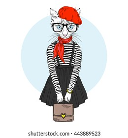 cat girl dressed up in french chic style, furry art illustration, fashion animals