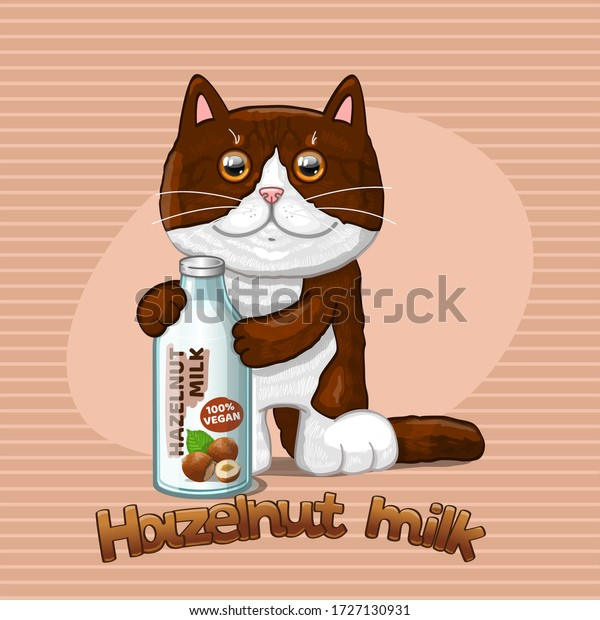 Cat and glass bottle with hazelnut milk. Vector illustration