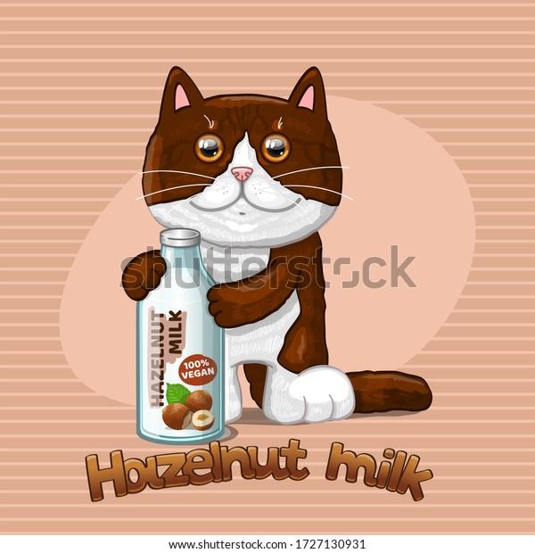 Cat and glass bottle with hazelnut milk. Vector illustration