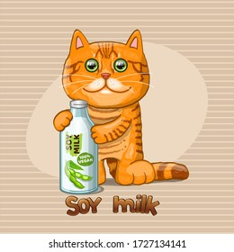Cat and glass bottle with soy milk. Vector illustration