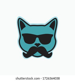 cat with glasses and mustache - funny cute flat face cat logo