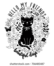 cat graphic for t-shirt