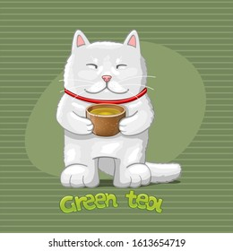 Cat with green tea. Vector Illustration