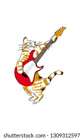 cat with a guitar
