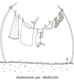 Cat hanging on a clothesline. for bird hunting. Vector illustration. doodle