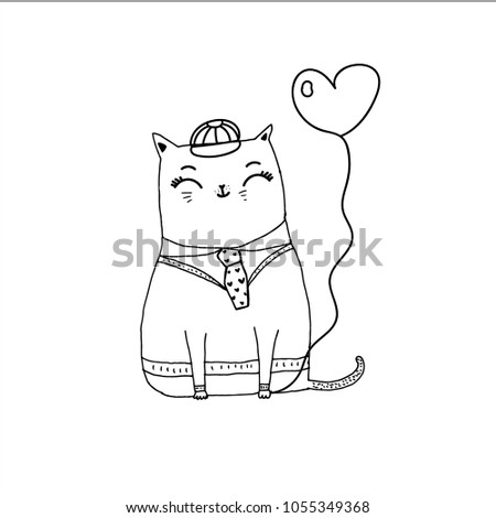 f41b602b cat in the hat with balloon , cartoon hand drawn vector illustration. Can  be used