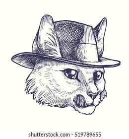 cat hat vector hand drawn vintage stock vector royalty free