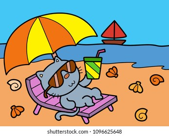 Cat Have A Great Vacation On The Beach