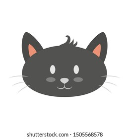 Cat head. Cute and funny animal. Kitten smile, adorable pet. Isolated vector illustration in flat style