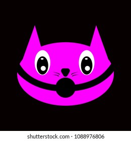 Cat head with gag in mouth, symbol of BDSM, pink on black background, vector