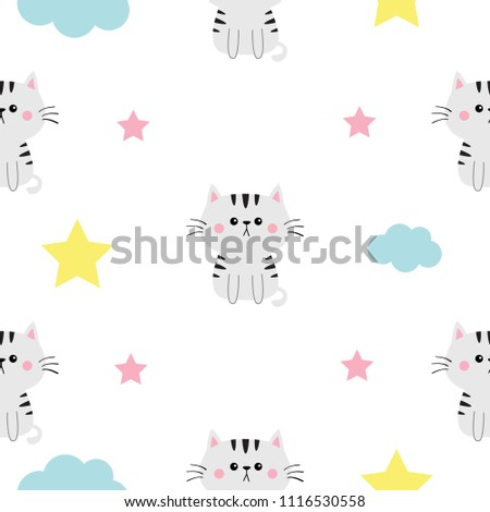 Cat Head Hands Cloud Star Shape Stock Vector Royalty Free