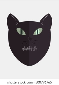 cat head he keeps secret. Vector sign illustration.