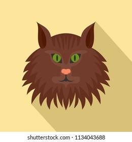 Cat head icon. Flat illustration of cat head vector icon for web design