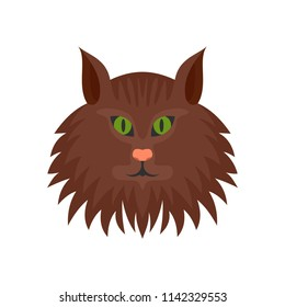 Cat head icon. Flat illustration of cat head vector icon for web isolated on white