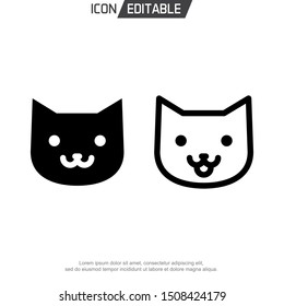 cat up head line icon animal, outline vector logo illustration modern, linear pictogram isolated on white