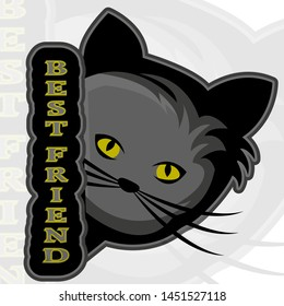 Cat head with saying best friend