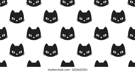 cat head seamless Pattern vector Halloween isolated wallpaper background