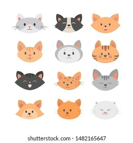 Cat head set. Collection of cute and funny animal. Kitten smile, angry kitty andsad pet. Isolated vector illustration in flat style