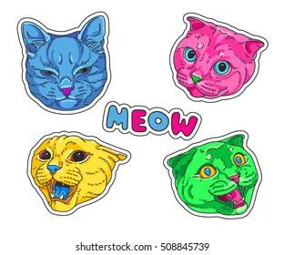 Cat head set. Vector illustration