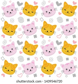 Cat heads emoticons seamless pattern