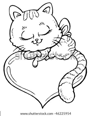 Cat Heart Coloring Stock Vector Royalty Free 46225954