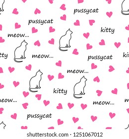 """Cat, heart, inscriptions """"pussycat"""", """"meow"""", """"kitten"""", seamless pattern, concept for  veterinary clinic or love for pets"""