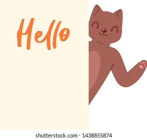 Cat Hello banner vector kitten character peeking behind cardboard kitty holding copy space message poster illustration set of pussycat pet animal advertising isolated on background