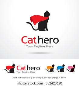 Cat Hero Logo Template Design Vector