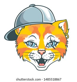 Cat in hip-hop hat. Vector illustration for use as print, poster, sticker, logo, tattoo, emblem and other.