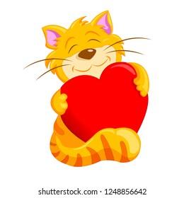 cat holding a heart. Vector illustration