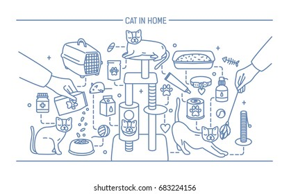 Cat in home contour banner with pet toys, meds and kitty meals. Horizontal outline line art vector illustration.