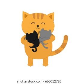Cat hugging two little baby kitten. Father or mother holding kittens on hands. Kitty hug. Funny Kawaii animal family. Cute cartoon pet character set. Flat design White background Isolated. Vector