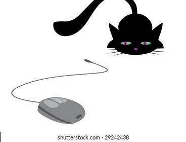 Cat is hunting for computer mouse. Vector illustration.