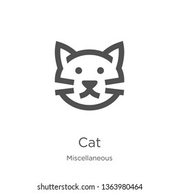 cat icon. Element of miscellaneous collection for mobile concept and web apps icon. Outline, thin line cat icon for website design and mobile, app development