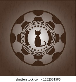 cat icon inside badge with wooden background