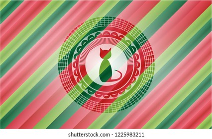 cat icon inside christmas colors badge.