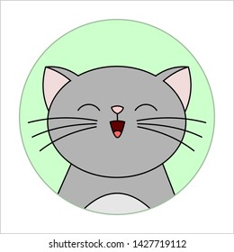 Cat. Icon Meowing cat. Gray cat with a Whiskers in a Round icon. Modern flat vector illustration on white background.