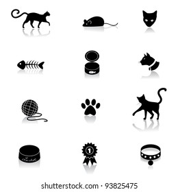Cat Icon Symbol Set EPS 8 vector, grouped for easy editing. No open shapes or paths.