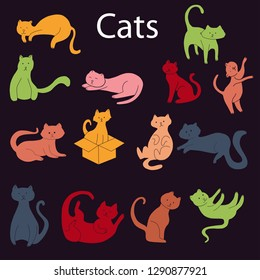 cat icon vector collection