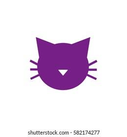 Cat icon vector. Violet icon