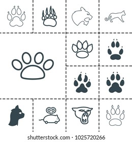 Cat icons. set of 13 editable filled and outline cat icons such as animal paw, panther, mouse toy, paw