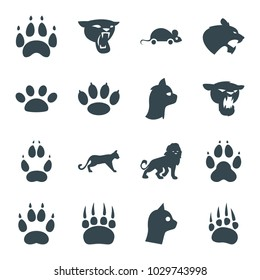 Cat icons. set of 16 editable filled cat icons such as animal paw, lion, panther, paw, cat