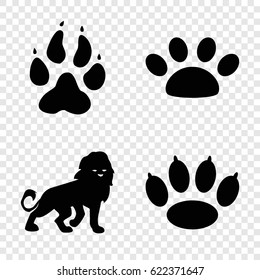 Cat icons set. set of 4 cat filled icons such as animal paw, lion