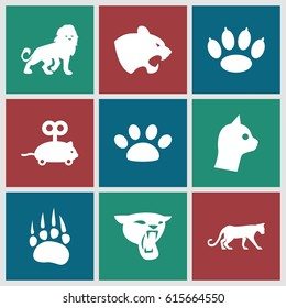 Cat icons set. set of 9 cat filled icons such as animal paw, panther, lion, mouse toy, paw