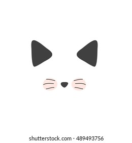 Cat, isolated of cute doodle. Cats vector sketch character handmade to Print T-shirts. Kids animals. Funny stylish muzzle isolated Pets