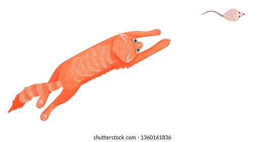 A cat jumps and runs after a mouse, a gray rodent, a pet, protects from rodents, a rat hunter, pets characters. View from above. Vector illustration of animals.