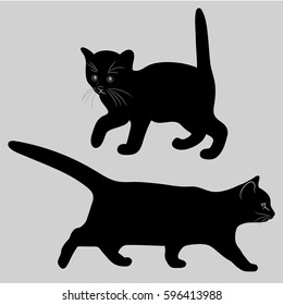 Cat and kitten. Black silhouette. Vector image.